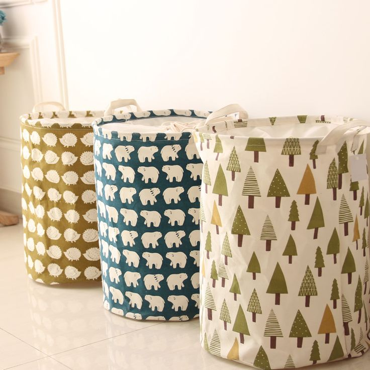 Cotton linen tree pole bear hedgehog with handle crown linen zakka vintage storage laundry basket fold | worth buying on AliExpress