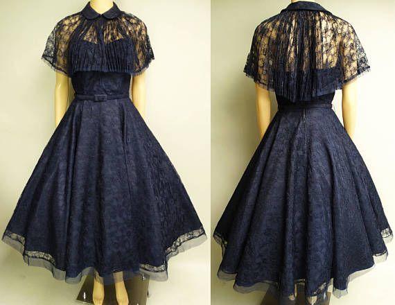 Vestido de fiesta de los años 1950 Vestido azul marino