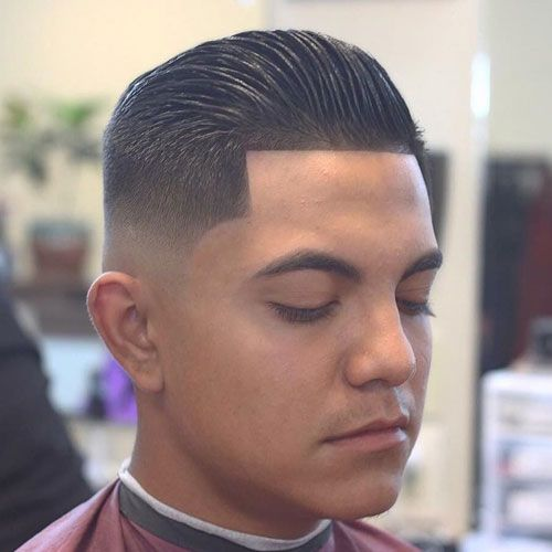 Mid Skin Fade with Line Up and Slick Back