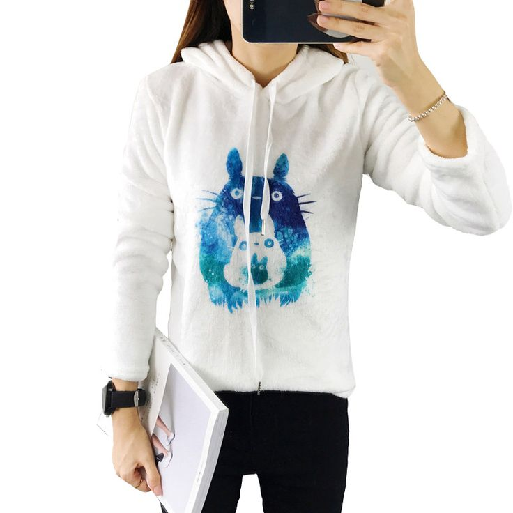 fashion Totoro Harajuku Print Soft Flannel Women Hoody Sweatshirts 2017 Autumn Winter Long Sleeve Pullover Tops White Coat