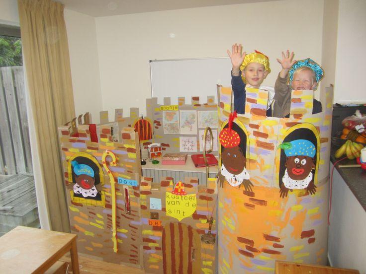 knutselen met karton - het kasteel van Sinterklaas