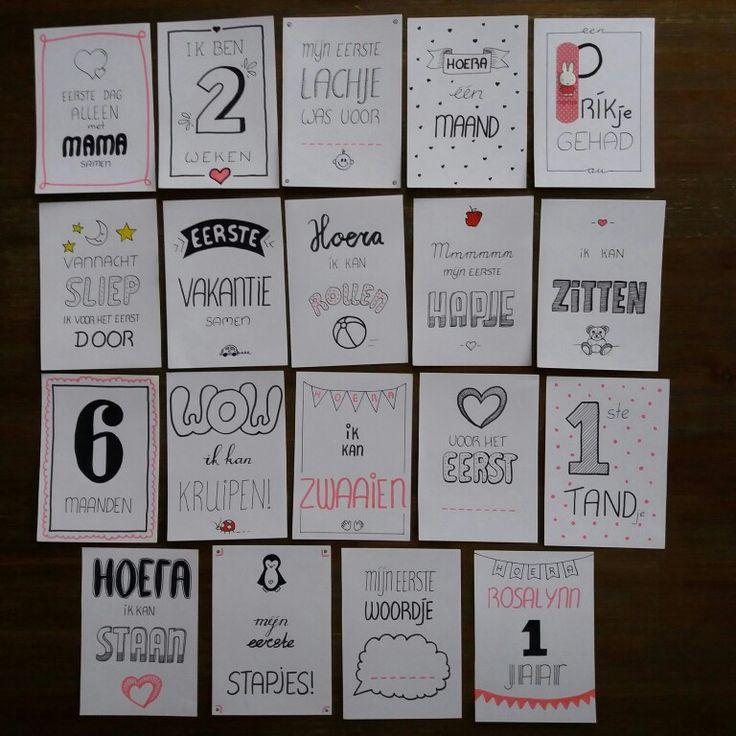 Mijlpaal kaarten handletteren baby meisje