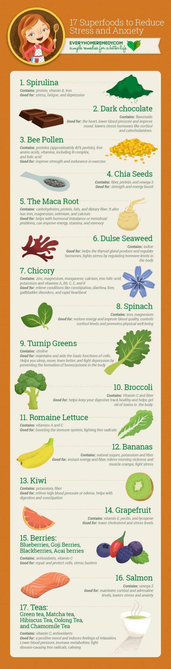 17 Superfoods to Reduce Stress and Anxiety | Every Home Remedy #health #healthy #superfood #stress #anxiety #remedies | Pinterest https://www.pinterest.com/pin/399976010640067725/