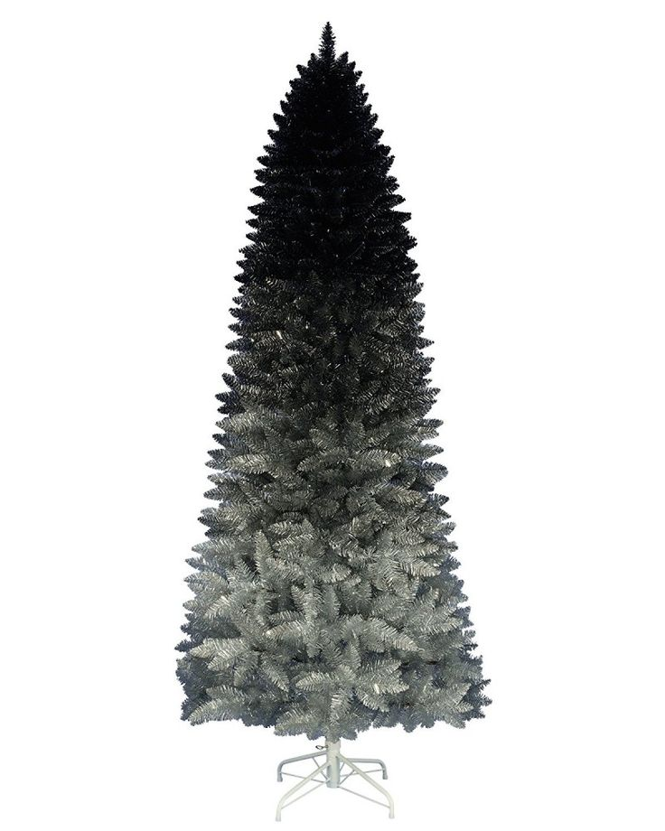 Black Silver Ombre Christmas Tree 7 Feet Tall