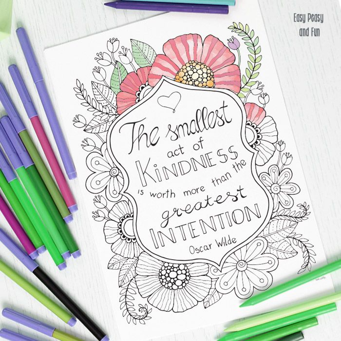 its time to share some kindness around color this kindness quote coloring page for adults