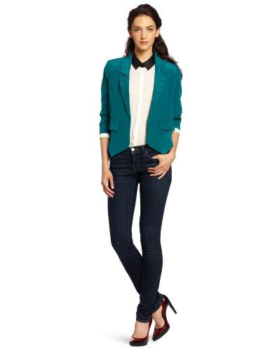 Aryn K Women's Tuxedo Blazer, Green, Large