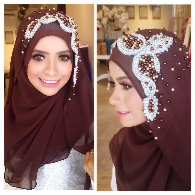 Wedding Hijab #darkbrown #muslimwedding http://weddinghijab.blogspot.com/2015/02/set-qisha-daun-dark-brown-beads-white.html