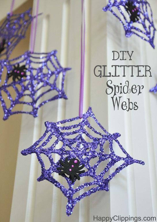 Diy glitter spiderweb craft for Halloween