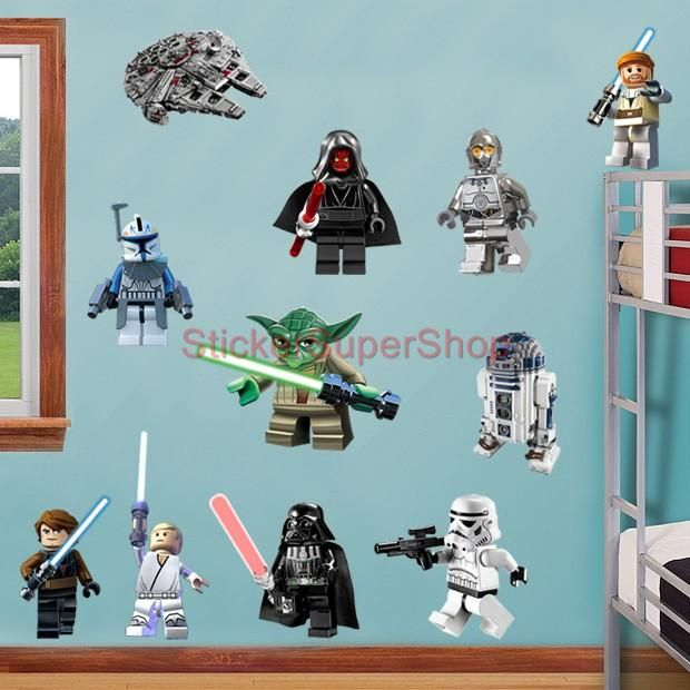 LEGO STAR WARS 11 CHARACTERS Decal Removable WALL STICKER Home Decor Art  Obi Wan In Home Part 13