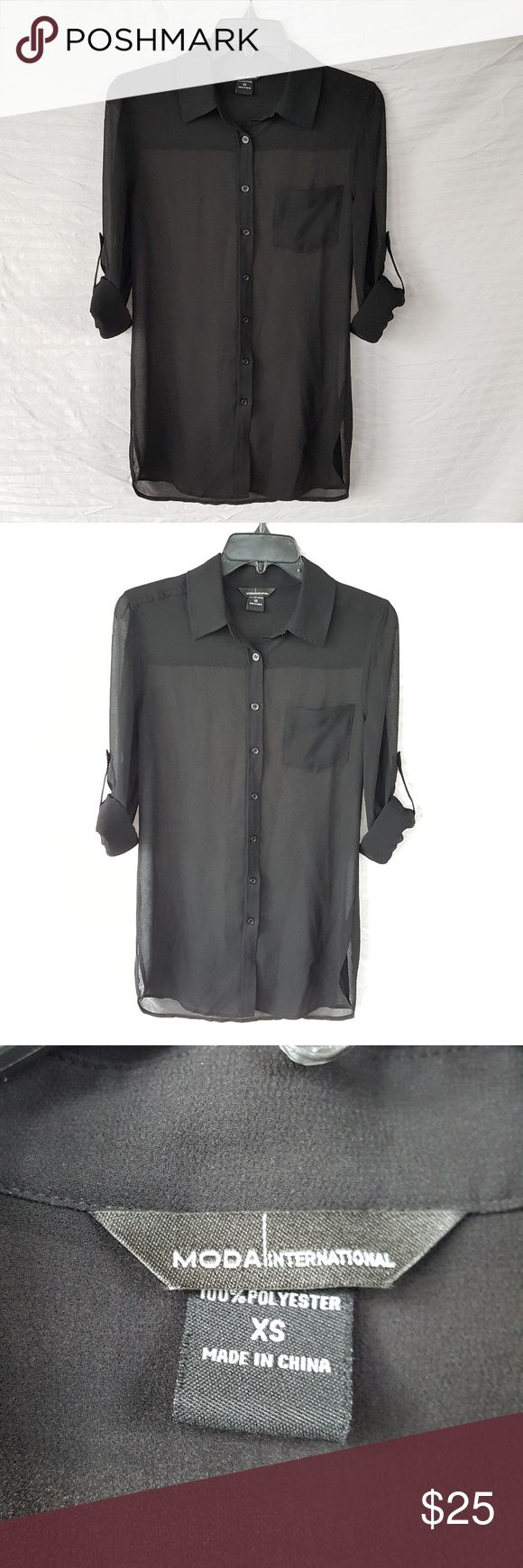 Victoria's Secret Button Down Sheer Black Victoria's Secret button down blouse, top, sheer black, sleeves can be rolled and buttoned up, free flowing loose fit.  Can be worn closed or open kimono style.  In excellent condition.  Bought through Victoria's Secret website, tag says Moda International. Victoria's Secret Tops