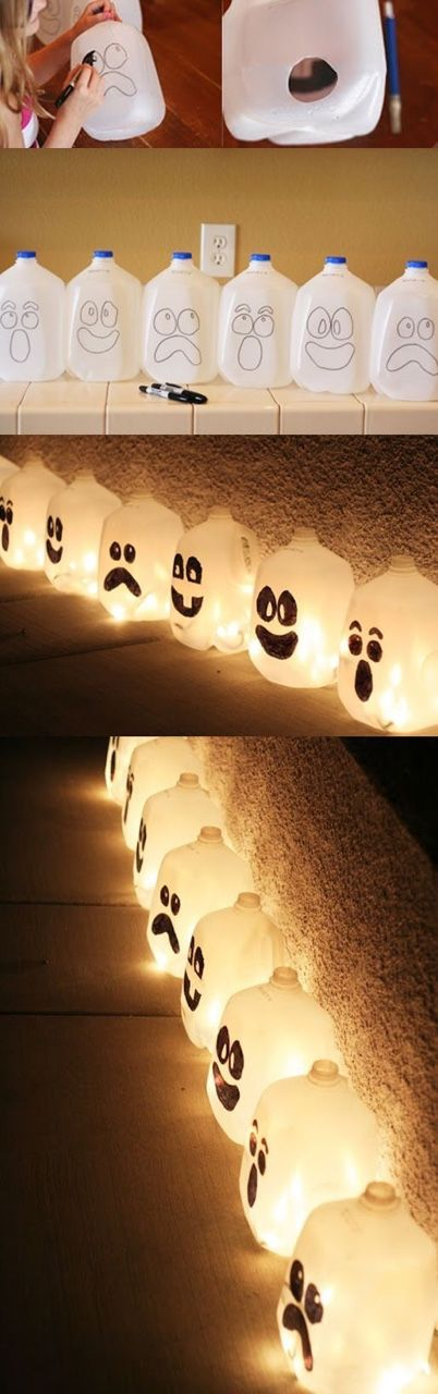 Halloween lights with milk cartons and Christmas lights, could be make with colored lights also, or flash lights.