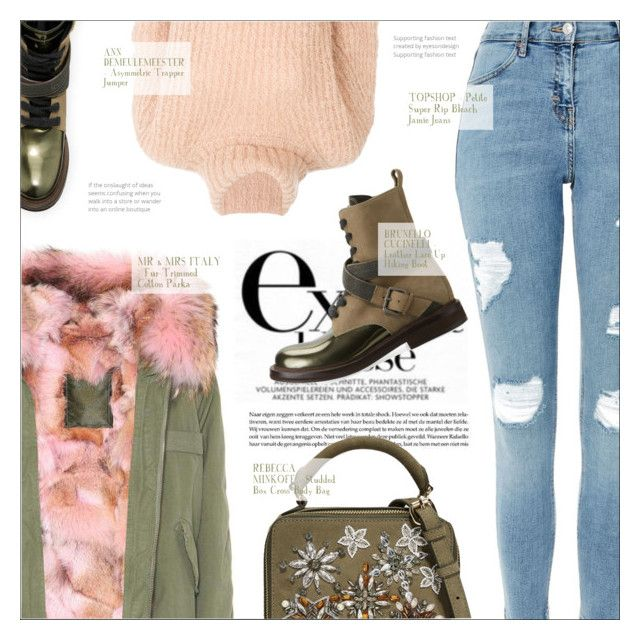"""""""EXTRACLASSE"""" by larissa-takahassi ❤ liked on Polyvore featuring Mr & Mrs Italy, Topshop, Brunello Cucinelli, Ann Demeulemeester, Rebecca Minkoff, rebeccaminkoff, crossbodybag and jumper"""