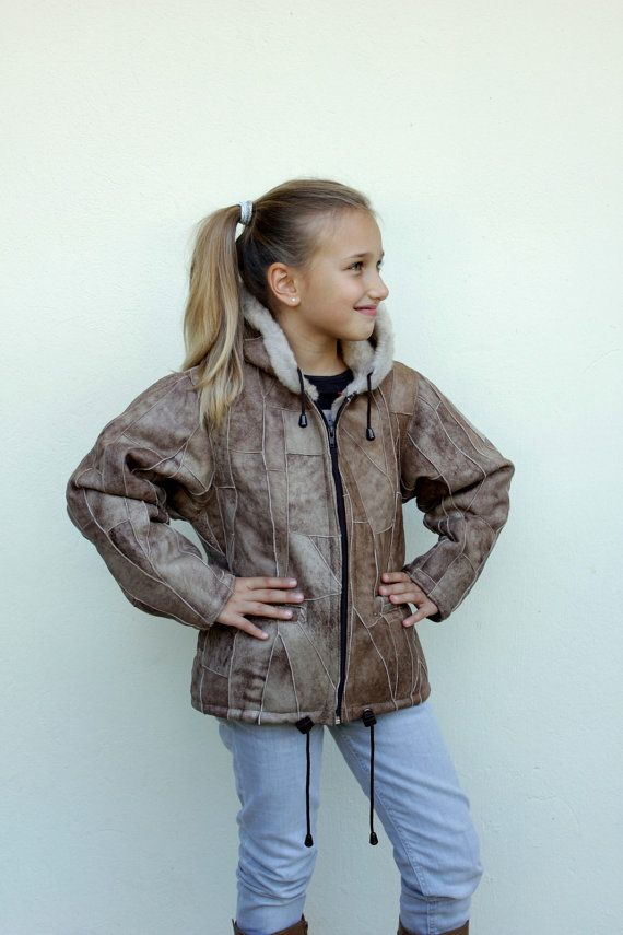 Children's Warm Jacket Made With Pieces of Leather and Fur