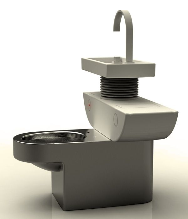 Toilet with two tanks: one for recycle water from the faucet, the other your standard tank.