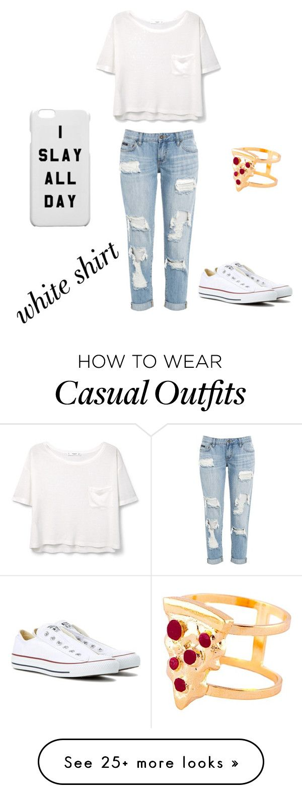 """casual chic"" by odalis-lagunes on Polyvore featuring MANGO, Converse, Glenda López and WardrobeStaples"