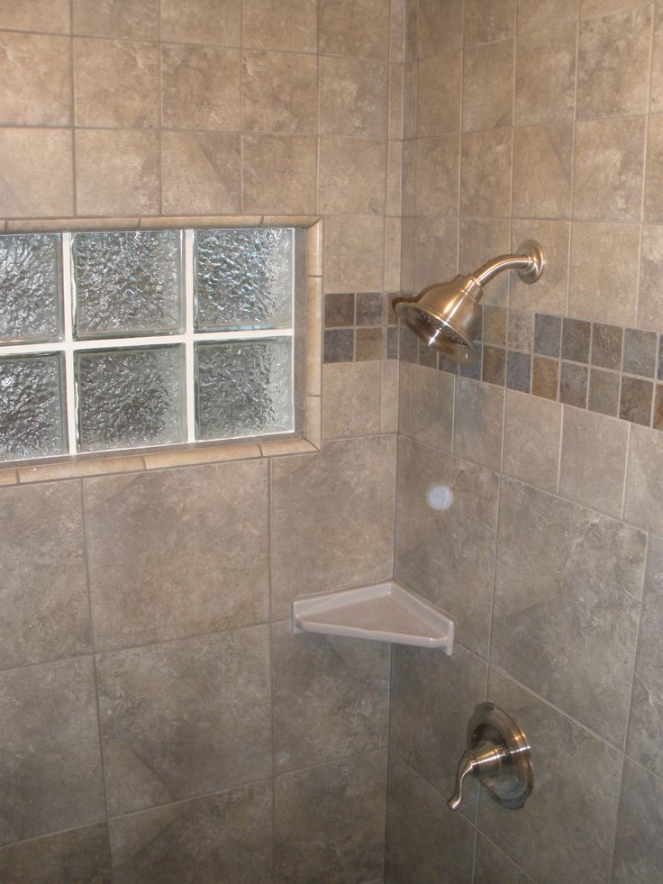 Window Replaced With Glass Block Icescapes 12 X12 Porcelain Tile 2 3 Up The Shower Walls 4
