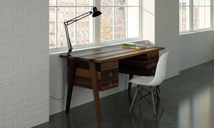 Mix solid wood office desk with french touch finishing.