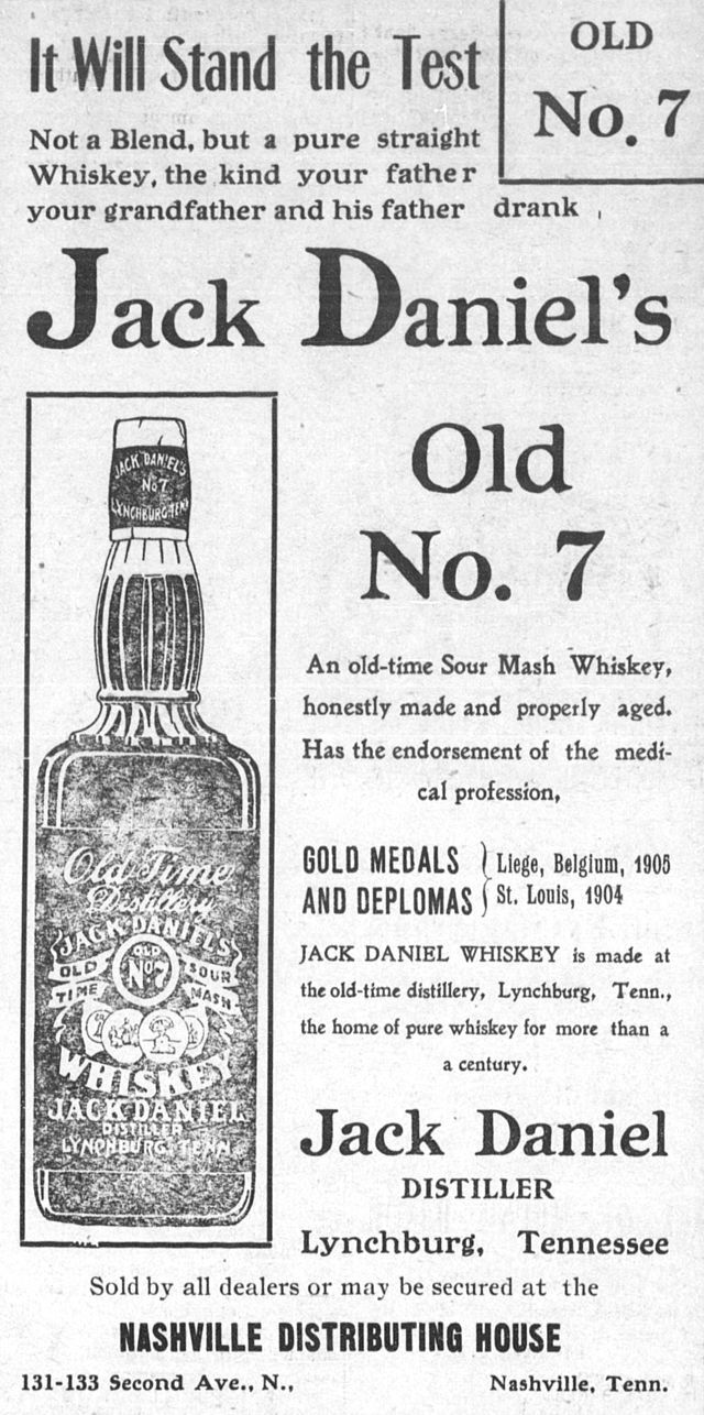 Jack-Daniels-1908-ad - Jack Daniel's Tennessee Whiskey - from Wikipedia, the free encyclopedia