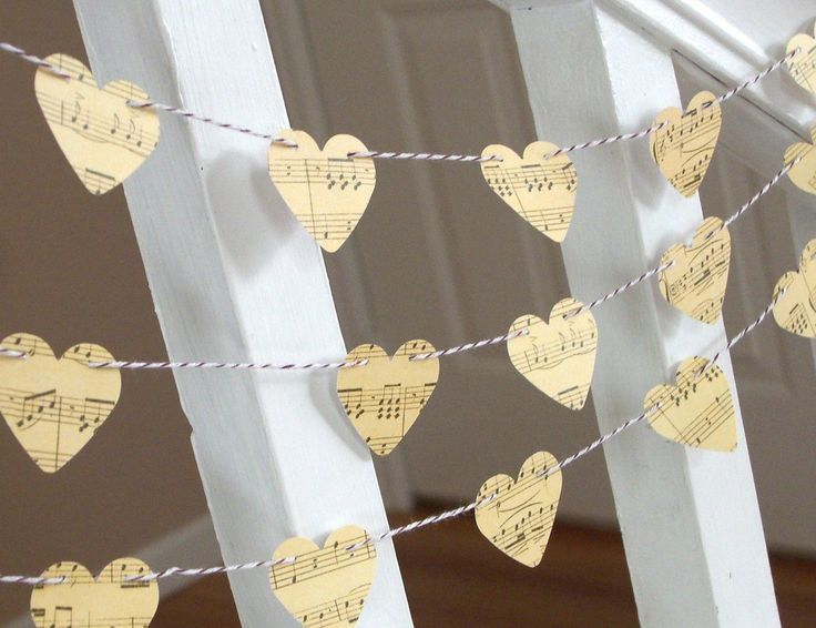 Vintage Inspired Music Sheet Heart Garland - 3 yards - Wedding and Home Decoration. $5.00, via Etsy.