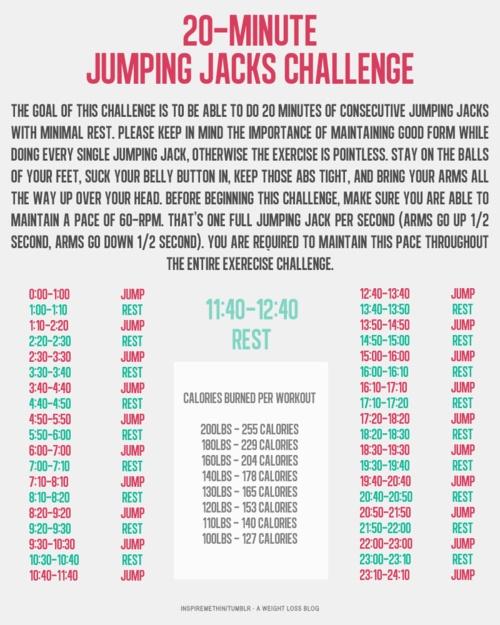 jumping jack challenge | Goodbye Fat | Pinterest