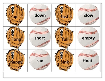 "Baseball Antonyms - can be played like ""concentration"" or ""Old Maid""."