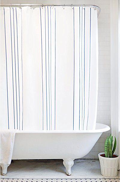 Bathage Minimal Stripe Fabric Shower Curtain