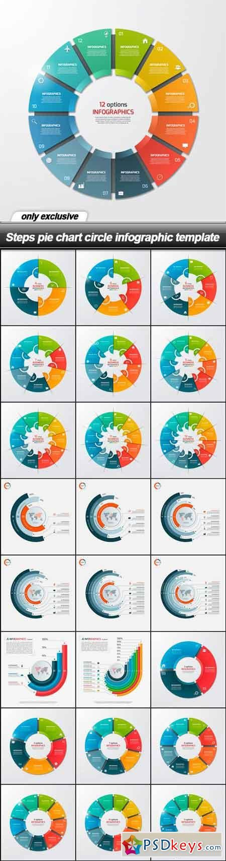 Steps pie chart circle infographic template - 25 EPS