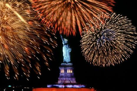 Fireworks above the Statue of Liberty on Independence Day ~ New York City