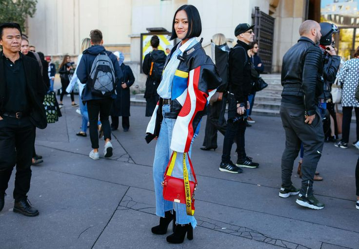 Tiffany Hsu in a Vetements jacket and an Off-White bag