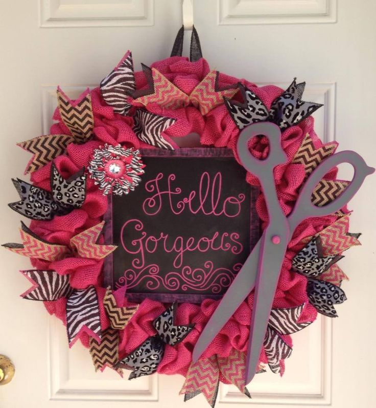 http://www.facebook.com/cutecraftsbyash Made by Ashley Hughes Hair Salon wreath in Hot pink and Black Hello Gorgeous