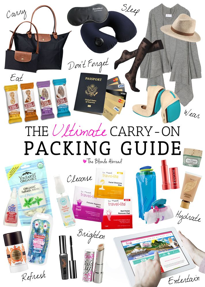 Equipaje de mano. Muy útil todo! #travel #packing #tips