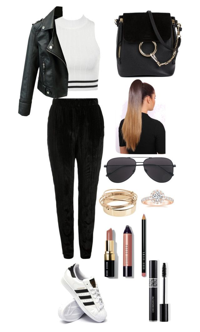 """""""It reminds me of something"""" by utkonos on Polyvore featuring Pieces, adidas, Chloé, Valentino, Bobbi Brown Cosmetics and Christian Dior"""