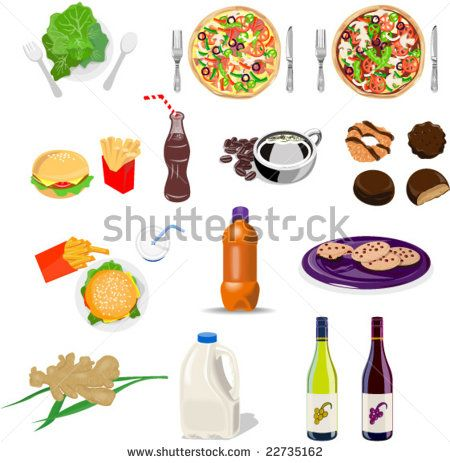 Food collection set - stock vector #foodandbeverage #retro #illustration