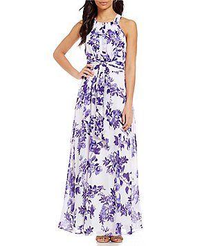 Leslie Fay Floral-Print Pleated Maxi Dress