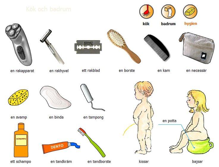 Swedish vocabulary - hygene products - svenska ord - hygien 1