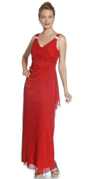 CLEARANCE - Red Semi Formal Dinner Dress V Neck Wrap Skirt Rhinestone Strap (Size Medium)
