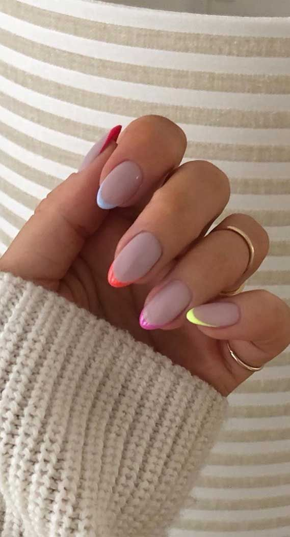 Modern Colorful French Nails In 2020 French Acrylic Nails Minimalist Nails Short Gel Nails