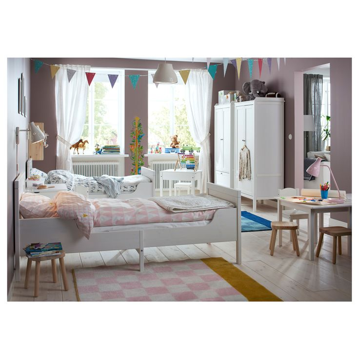 IKEA SUNDVIK Ext bed frame with slatted bed base White 80x200 cm Extendable, so it can be pulled out as your child grows.