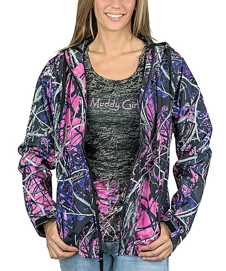Take a look at this Purple Muddy Girl Camo Wind Breaker Jacket - Plus Too today!
