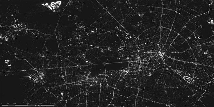 Researchers have stitched together a nighttime image of Berlin from above, which they say is the highest-resolution picture of a city at night. Ecologists have used the image to measure light pollution in the German capital.