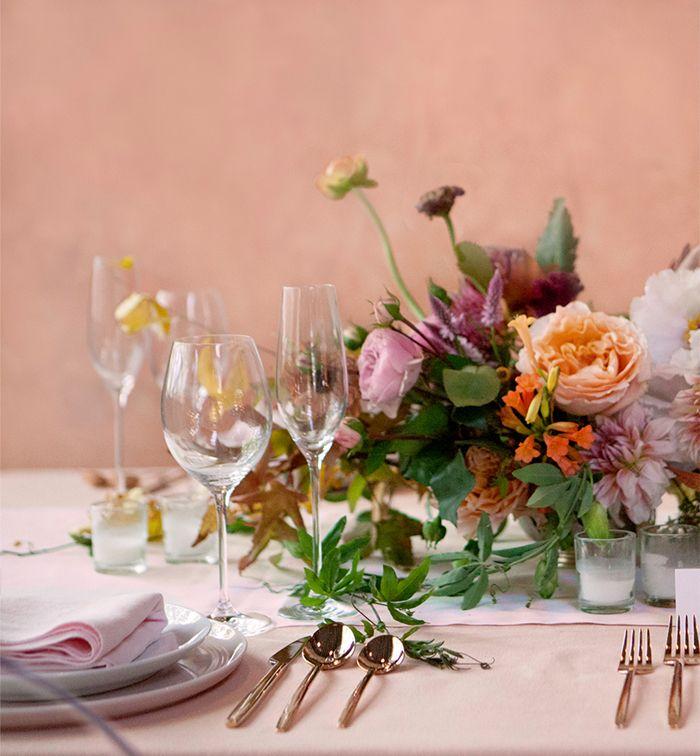 A vibrant wedding tablescape.