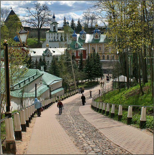 Pskov Caves Monastery, located in Pechory, Pskov Oblast in Russia