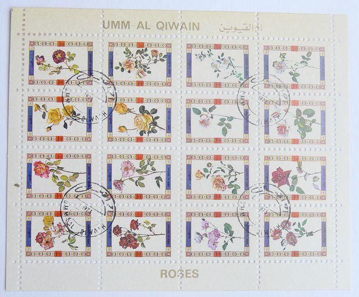 "Block of Stamps ""Roses"" theme Umm al Quwain United Arab Emirates 1972"