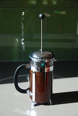 Cold Brewed Coffee  I use 3/4 cup grounds and 4 cups water in my french press. Steep in the refrigerator 16+ hours, stirring once at some point (maybe not necessary). Then I press and pour the concentrate into a 64oz growler jug and top off with water (this dilutes it to about 2 parts water : 1 part concentrated brew).