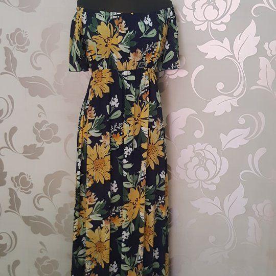 #abito #lungo #spalle #scoperte #blu e #giallo #valeria #abbigliamento