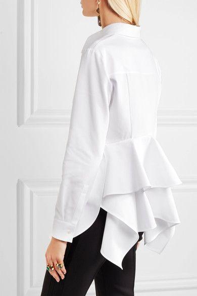 Alexander McQueen - Ruffled Cotton-piqué Shirt - White - IT46