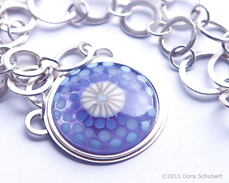 lampwork glass cabochon set in sterling silver with handmade silver chain