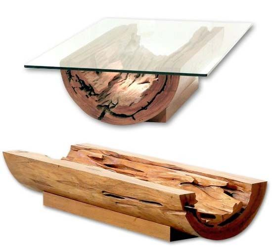 Canoa Coffee Table Split Wood Log And Glass(Beauty Design Furniture)