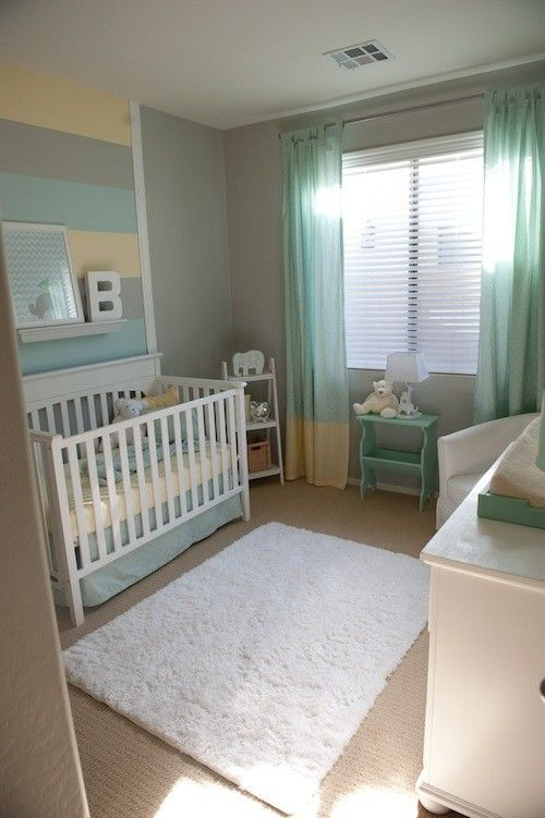 Neutral Nursery. I love the gray, yellow and turquoise stripes