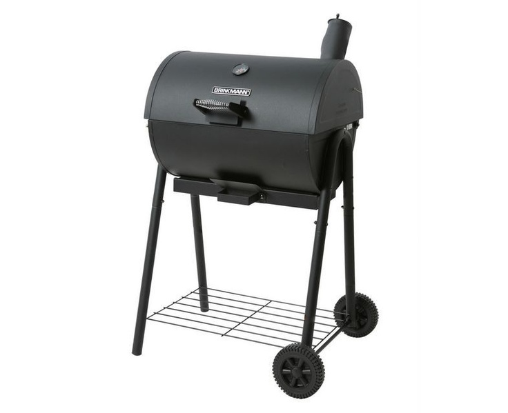 Brinkmann Smoker & Grill Charcoal Barbecue  It is constructed of heavy-gauge welded steel with a hinged lid and porcelain coated steel cooking grates, including a chrome plated warming rack.